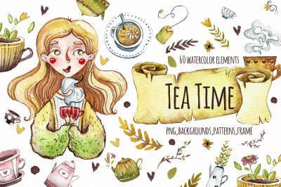 Watercolor Tea time