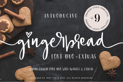 Gingerbread Font Duo + 9 Logo Templates