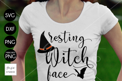 Resting Witch Face Halloween SVG Cut File, Halloween Cut Files, CUTfiles for Crafters