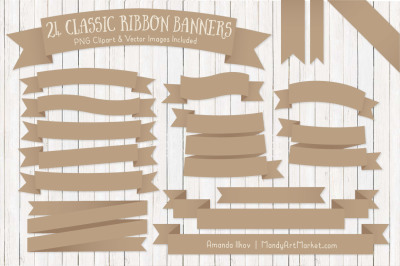 Classic Ribbon Banner Clipart in Champagne