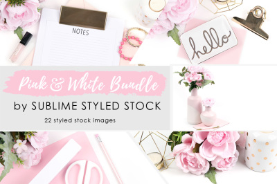 Bundle of 22 Pink and White Styled Stock Photos