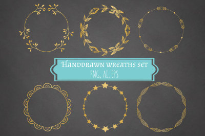 Hand drawn Wreaths Set - Ai+Eps+Png