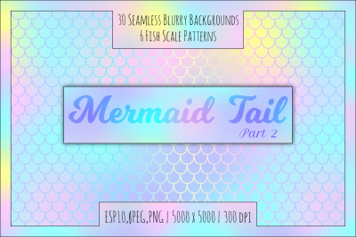 Mermaid Seamless Blurry Patterns