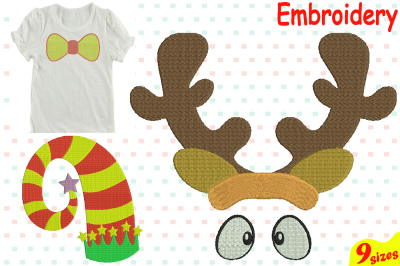 Christmas Designs for Embroidery Machine Instant Download Commercial Use digital file 4x4 5x7 hoop icon symbol sign Santa Claus Bow reindeer horns 93b