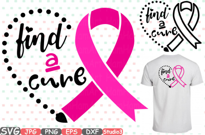 Breast Cancer Ribbon Monogram Silhouette SVG Cutting Files Digital Clip Art Graphic Studio3 cricut cuttable Die Cut Machines find a cure -59sv