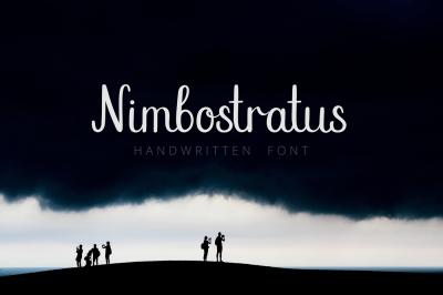 Nimbostratus. Handwritten Font