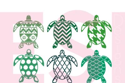 Patterned Turtle Designs - SVG, DXF, EPS
