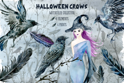 Halloween Crows and Witch