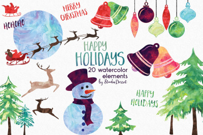 Happy Holidays - Watercolor Elements