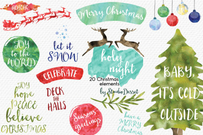 Holy Night - Chistmas Watercolor Overlays