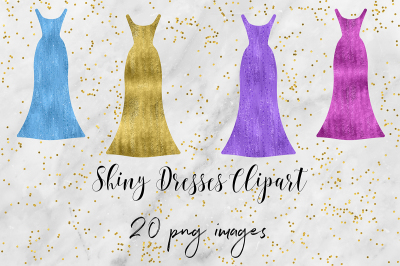 Glitter & Foil Dresses Clipart