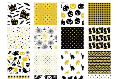 Stylish Halloween digital paper pack gold and black, Seamless background pattern