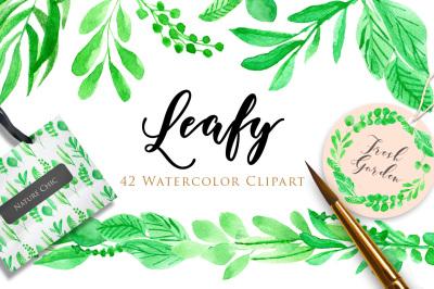 Leafy Watercolor Clipart