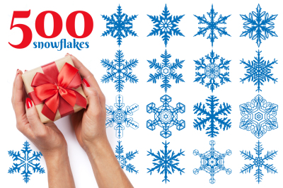 500 Snowflake Vector Ornaments