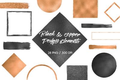Black & Copper Design Elements