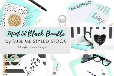Mint and Black Bundle of 18 Images
