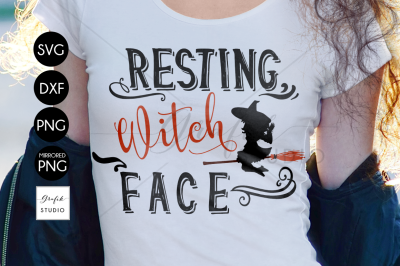 Resting Witch Face Halloween SVG Cut File, DXF File, SVG File for Cricut