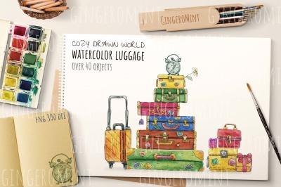 Watercolor Retro Luggage