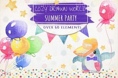 Watercolor Party Elements