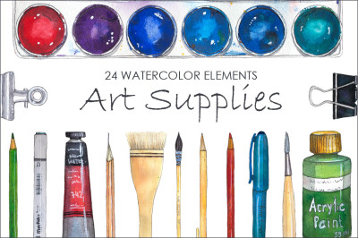 Art Supplies (watercolor elements)