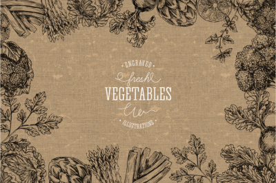 Handsketched vegetables