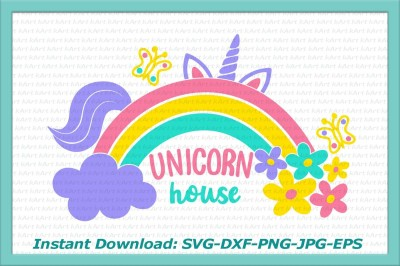unicorn svg, rainbow svg, flowers svg, cloud svg, unicorn house svg, unicorn iron on, printable, unicorn with rainbow svg, unicorn, clipart