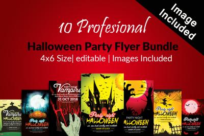 10 Halloween Flyer Bundle