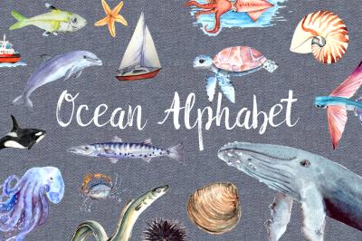 Watercolor Ocean Alphabet Clipart + Poster