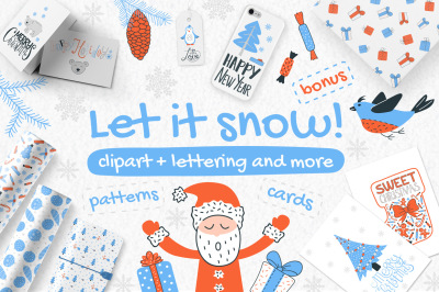 Let It Snow - clipart & lettering set