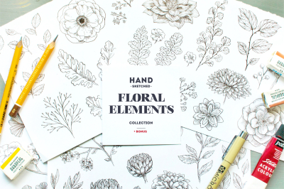 Handsketched Floral Elements Kit