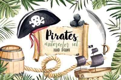 Pirates Clipart Watercolor Set