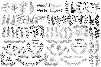 Big Set of Hand Drawn Herbs Clipart, Leaves clip art, Herbs Silhouette