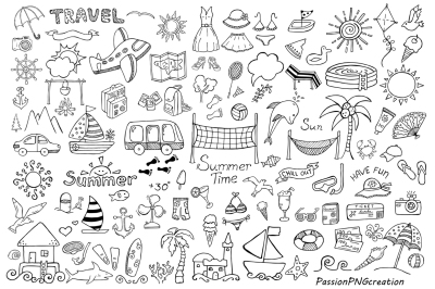 BIG SET of Doodle Summer cliparts, Hand drawn vacation clipart