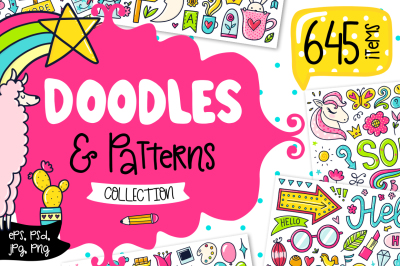 645 Doodles & Patterns - Clipart Set