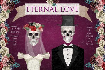 Eternal Love. Vintage low poly set
