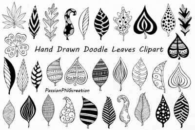 Hand Drawn Doodle Leaves Clipart, leaves silhouette