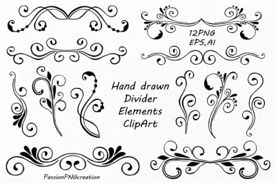 Divider Elements, Digital Clipart, EPS, PNG, Hand Drawn