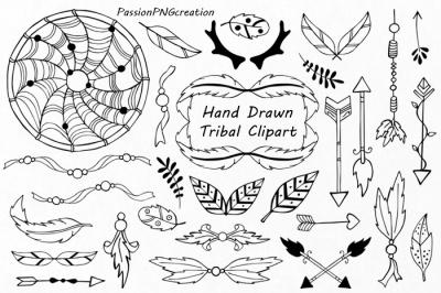 Hand Drawn Tribal Clipart, Outline art, Dream catcher