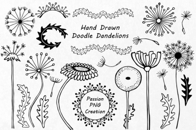 Hand drawn Doodle Dandelions Clipart, Flower Silhouettes