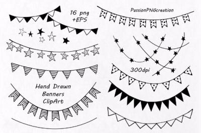 Hand Drawn Banners clipart, Banner Clip Art
