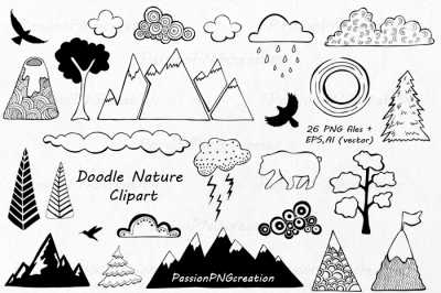 Doodle Nature Clipart, Hand Drawn Mountain Clipart, Clouds clip art