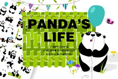 Panda's life - set with cute pandas