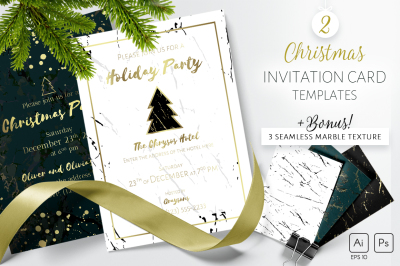 2 Christmas invitations and marble