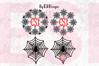 Spider and Spider Web Monogram Designs Set - SVG, DXF, EPS & PNG