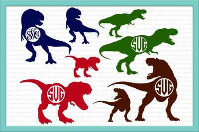 Dinosaur monogram SVG, T Rex bundle svg, T-rex clipart, Monogram frame svg, Dinosaur SVG bundle, eps pdf dxf svg studio file, cutting file