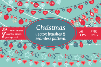 Christmas vector brushes & pattern pack