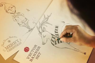 Merry Christmas hand drawn set+label