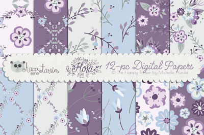 Flower Digital Papers and Seamless Pattern Designs – Flora 01 – Purple, Pink and Light Blue Flower Floral Patterns Backgrounds
