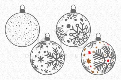 Christmas Tree Balls, Snowflake Balls, Christmas SVG files for Cricut