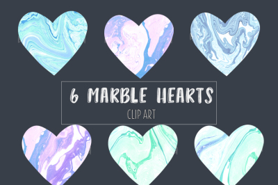 Marble hearts clip art